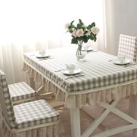 桌布布艺田园棉麻格子餐桌布椅套套装茶几桌布连体椅子套椅垫定制