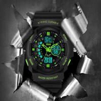 手表男士多功能机械特种兵运动战术军表男户外学生电子表 升级双显版 -黑色
