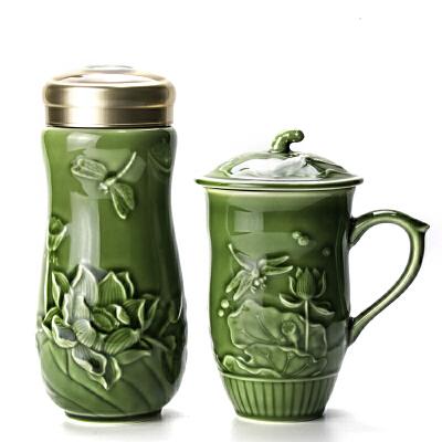 乾唐轩活瓷杯蜻蜓夏荷礼盒套装随身杯+高杯陶瓷水杯杯子