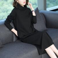 大码连衣裙秋装2018新款女装气质名媛长裙宽松高领中长款打底裙子 黑色
