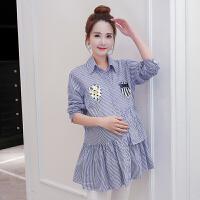 韩版长袖上衣孕妇装孕妇衬衫春装2018新款潮妈条纹印花宽松
