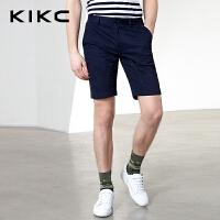 kikc休闲五分裤男2018夏季新款纯色青少年修身潮流时尚直筒短裤男
