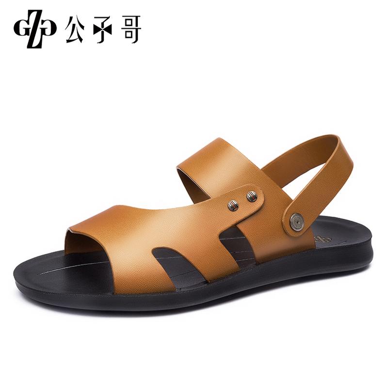 公子哥凉鞋男夏季新款透气休闲沙滩鞋真皮男款