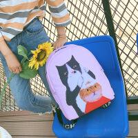 卡通印花猫咪控少女可爱帆布学生书包校园风休闲旅行双肩包文艺潮