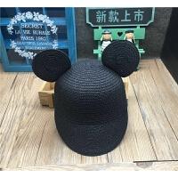 �n��新款女����草帽卡通米奇耳朵帽子夏季�和�防�裾陉�帽�S家批�l 50cm