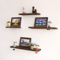 一字隔板墙上置物架客厅墙面壁挂卧室装饰架子置物架简约复古实木