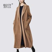 【新年狂欢到手价:782.5】魅斑过膝长款双面尼外套女装时尚简约西装领大摆纯羊毛呢外套大衣