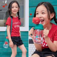 韩国杯具熊儿童水杯吸管杯宝宝幼儿园防摔小学生水壶夏季可爱卡通