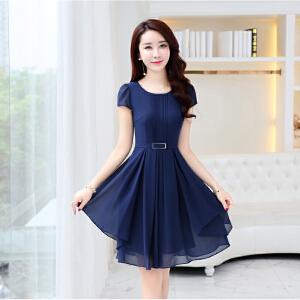 连衣裙女 2018夏季新款韩版气质修身圆领不规则雪纺短袖A字裙子潮