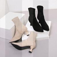 2018新款中筒靴袜靴女小码靴子31 冬季弹力靴高跟鞋短靴裸靴SN8749 正常码数 脚肉要配厚袜大一个码 31 定做