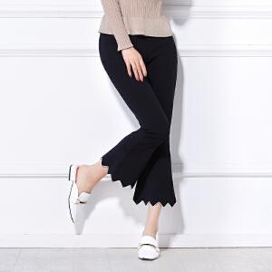 高腰修身女春装2018新款韩版显瘦黑色弹力百搭微喇叭裤九分阔腿裤