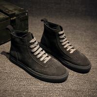 高帮板鞋男士英伦潮流学生休闲鞋秋季加绒高邦潮鞋复古运动鞋 深灰色 皮鞋尺码