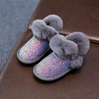 女童雪地靴冬季6加绒5儿童亮片棉靴1-3-13岁中大童短靴子