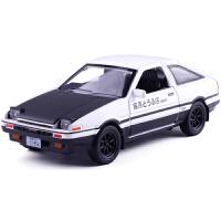头文字D车丰田赛车AE86合金汽车模型玩具声光回力小车大灯可翻起