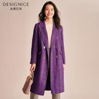 【2折参考价:520】双面呢羊毛大衣女长款时尚韩版西装领迪赛尼斯2019冬新款毛呢外套