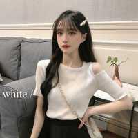 �W�t洋��却疃绦溽��衫女夏季2020年新款打底衫白色短款露肩上衣
