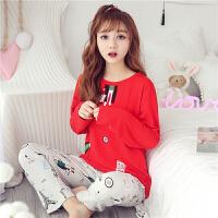 春秋季新款睡衣女长袖家居服莫代尔可爱女生小清新卡通韩版两件套
