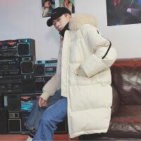 韩版中长款宽松大毛领工装连帽棉衣男士