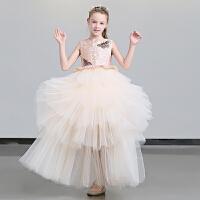儿童礼服女模特走秀公主裙女童礼服蓬蓬纱花童蓬蓬裙钢琴演出服冬 粉红色