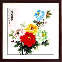 国画牡丹斗方客厅装饰手绘真迹五色五彩图玄关风水画字画挂画