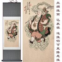 西游记人物丝绸卷轴画 猪八戒客厅装饰画 人物挂画 定制定做 160*65 带锦盒