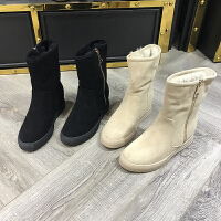 欧洲风格站2017冬季新女鞋雪地靴羊内增高皮兔毛中筒厚绒里棉靴潮