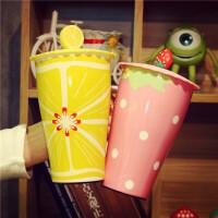 陶瓷杯子潮流马克杯大号超大创意可爱公主清新韩国水杯带盖 简约