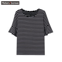 【狂欢返场,专区1件3折】美特斯邦威女短袖恤2017夏季新款荷叶边条纹短袖恤226838商场同款