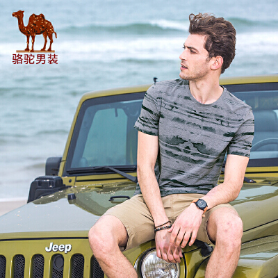 骆驼男装 夏季男士新款潮流个性短袖t恤衫圆领印花半袖体恤上衣