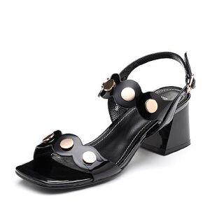 BASTO/百思图2018夏季专柜同款牛皮革一字带粗跟女凉鞋NB859BL8
