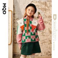 【2件3折后价:138】【设计师系列】MQD女童格子毛衣21秋新款卡通撞色女孩拼色针织衫