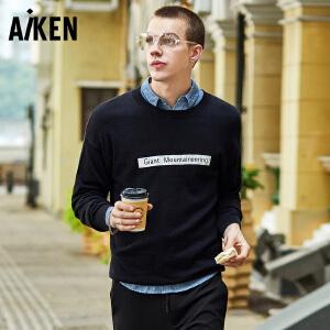 Aiken爱肯2018春装新款针织衫男圆领宽松男士毛衣情侣线衣潮