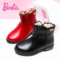 芭比童鞋女童靴子二棉短靴2017冬季新款加绒保暖韩版百搭马丁靴