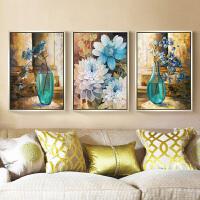 5D钻石画满钻客厅新款花卉三联画简约现代点贴钻十字绣卧室砖石秀