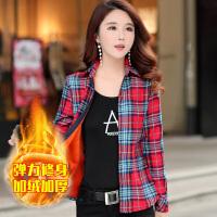 秋冬新款保暖衬衫女长袖加绒加厚格子衬衣女韩版修身弹力大码女装xx。。 2X