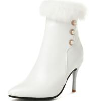 品真皮短靴2018秋冬新款女欧美尖头细跟高跟拉链裸靴貂毛珍珠优雅黑