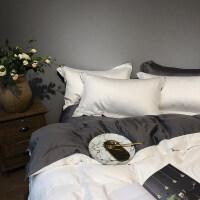 80支天丝四件套纯色双面欧式简约床上用品欧美风冰丝双人床单被套