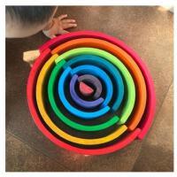 蒙氏益智大号12片拱桥彩虹积木幼儿童早教叠叠乐木制玩具2-12岁