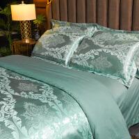 四件套欧式纯棉裸睡床上用品婚庆全棉被套贡缎简约床单床笠被子4