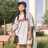 夏装新款韩版原宿风宽松中长款网纱拼接假两件字母短袖T恤女上衣