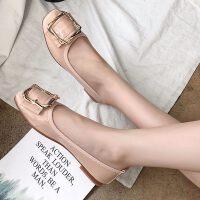 夏平底方头单鞋女浅口平跟豆豆蛋卷鞋方扣牛筋软底舒适妈妈鞋瓢鞋