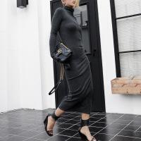 №【2019新款】冬天美女穿的秋冬加厚磨毛修身包臀打底高领针织连衣裙女中长款一步裙