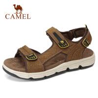 camel 骆驼男鞋 2018夏季新款男沙滩鞋户外凉鞋牛皮平底轻盈凉鞋男
