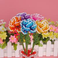 手工串珠diy情人节礼物康乃馨永生花朵饰品材料包 玫瑰花月季蔷薇