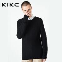 kikc男装针织衫春夏季新款青年韩版套头黑色修身免烫长袖毛衣男士