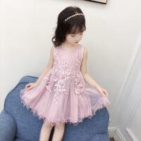 女童童装连衣裙夏季新款儿童节日公主裙女孩中大童蕾丝长裙子