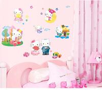可爱KT猫墙贴儿童墙画贴纸婴儿房间装饰温馨床头墙上贴画墙纸自粘 可爱凯蒂猫 特大