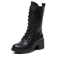 秋冬季真皮高帮马丁靴女英伦防滑系带中筒靴单靴中跟防滑机车靴潮
