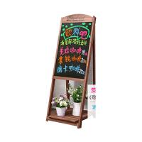 创意磁性咖啡厅广告板家用粉笔荧光板实木店铺发光小黑板支架式