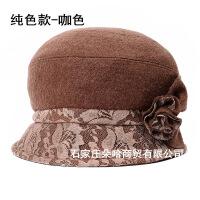 №【2019新款】中老年人帽子渔夫帽女士秋冬毛呢礼帽时尚女帽盆帽婆婆妈妈帽 可调节